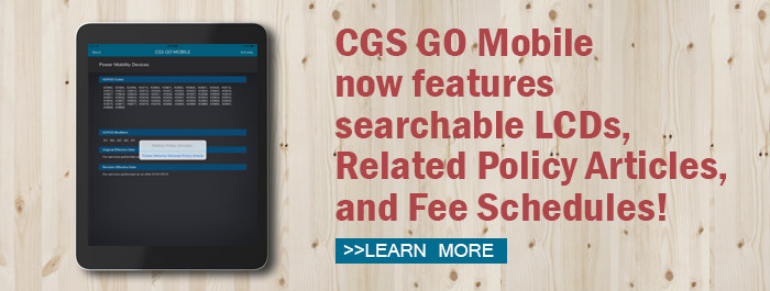 CGS GO Mobile now offers searchable fee schedules